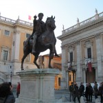 The famous equestrian statue!  Replica of the the Marcus Aurelius bronze. The original is inside the museum
