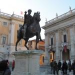 The famous equestrian statue!  Replica of the the Marcus Aurelius bronze. The original is inside the museum