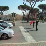 Brave street entertainers in road outside