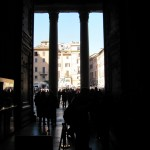 From inside the Pantheon looking out