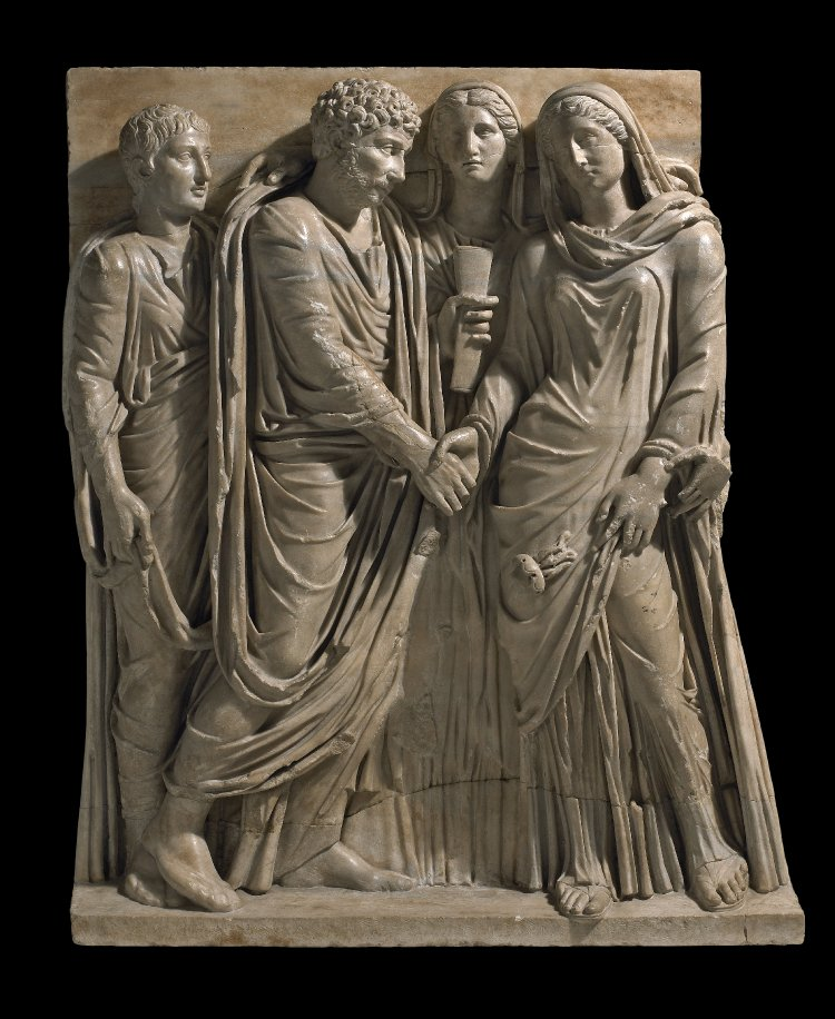 Detail from 2nd century sarcophagus © Trustees of the British Museum