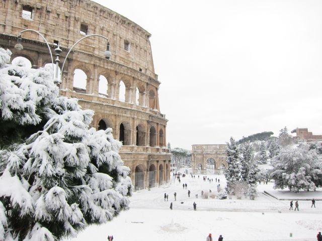Rome in snow