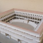 Model of gladiator school, reconstructed. Time of Domitian AD 81-96