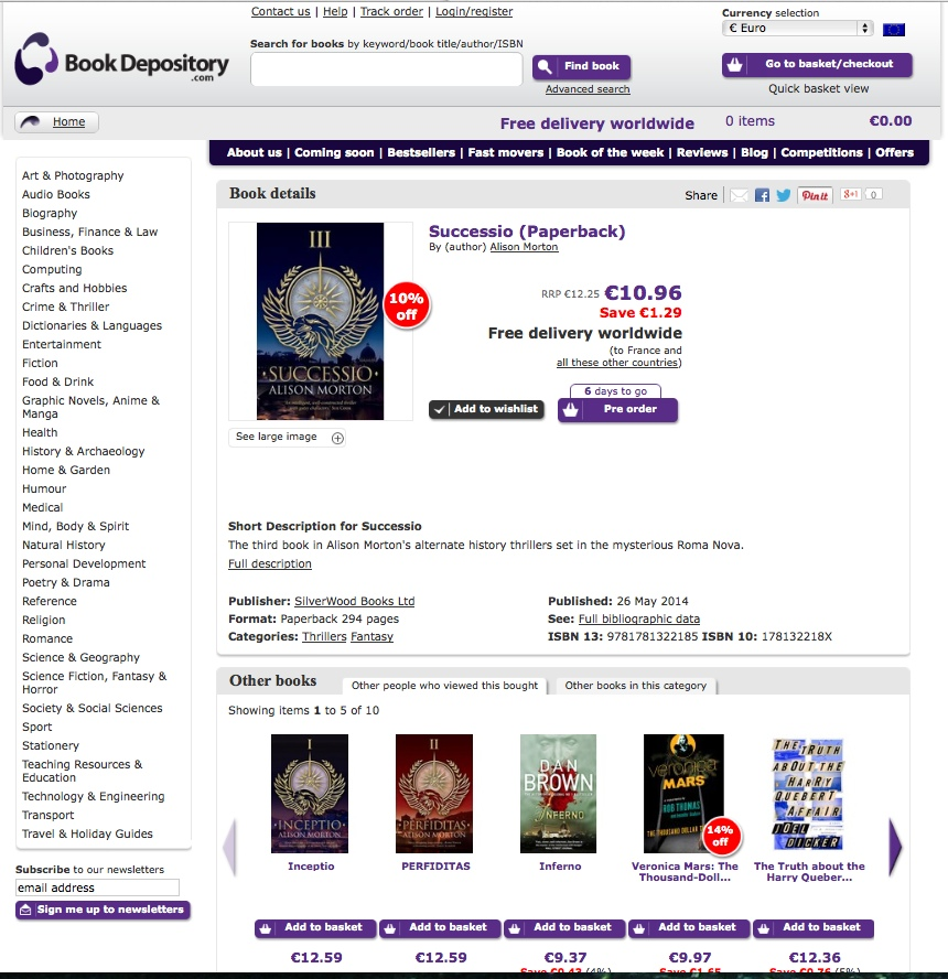 Book Depository listing