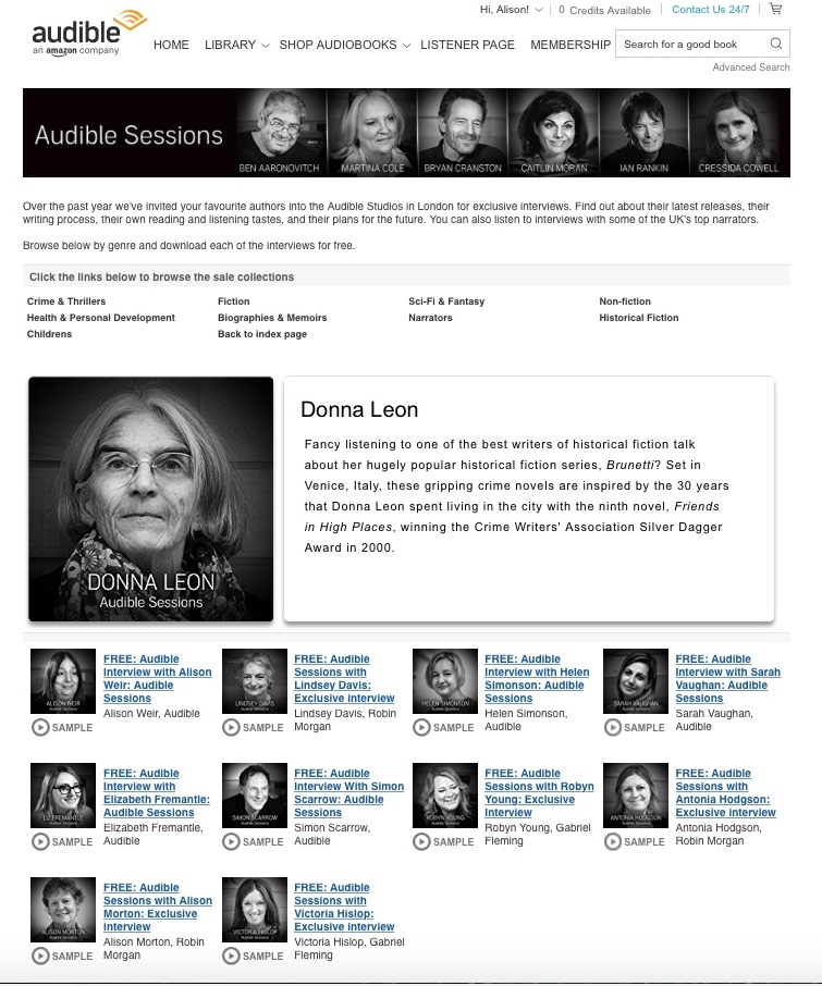 Historical fiction writers' interviews at Audible