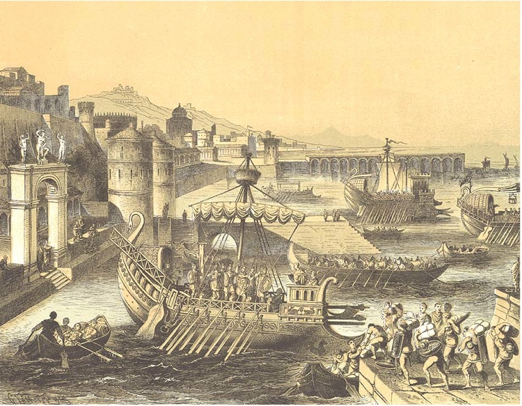 Roman port scene (Lithograph from Seewesen by Walter Muller 1893)
