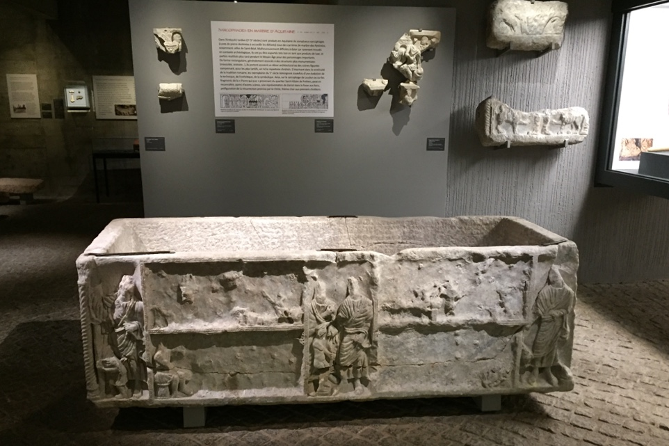 Christian sarcophagus 4/5th century, in Aquitaine marble a far cry from the simple funerary urns of the earlier Roman period