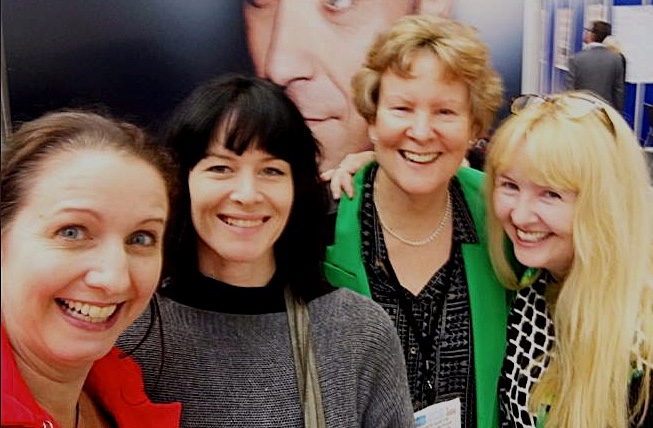 Left to right: Joanna Penn, Jessica Bell, me, Rebecca Lang at the London Book Fair 2017
