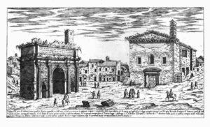 Curia Julia as Sant'Adriano al Foro (Etienne Dupérac c. 1575) (Public domain)