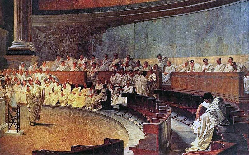 Cicero accusing Cataline, Maccari Hall, Italian Senate (Public domain)