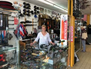 Laurence Mousseron and her shop, Surplus Militaire Armurie et Cotellerie, Thouars