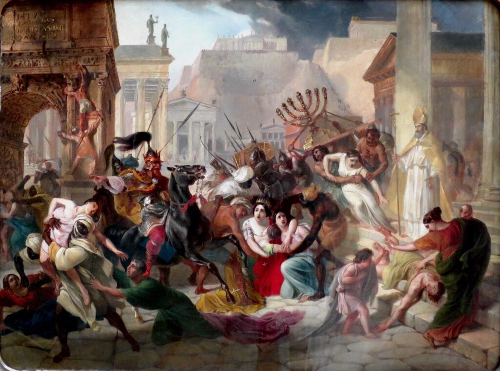 Painting of Genseric sacking Rome 455 by Karl Bryullov (1799–1852) (Public domain)